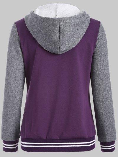 Hooded Varsity Baseball Fleece Sweatshirt Jacket - PURPLE 4XL Mobile