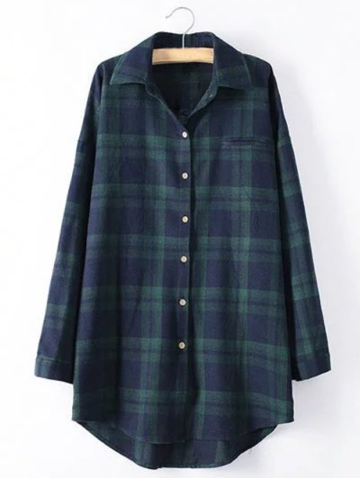 Long Sleeve Checked Long Shirt - GREEN 2XL Mobile