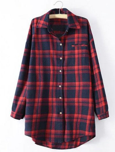 Long Sleeve Checked Long Shirt - RED XL Mobile