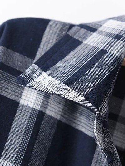 Long Sleeve Checked Long Shirt - BLUE 2XL Mobile