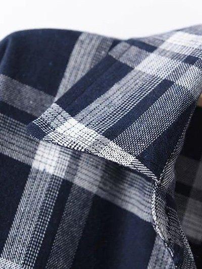 Long Sleeve Checked Long Shirt - BLUE 3XL Mobile