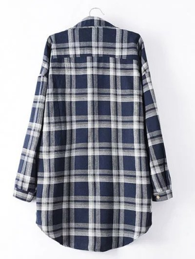 Long Sleeve Checked Long Shirt - BLUE 4XL Mobile