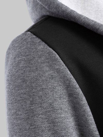 Hooded Varsity Baseball Fleece Sweatshirt Jacket - BLACK 2XL Mobile