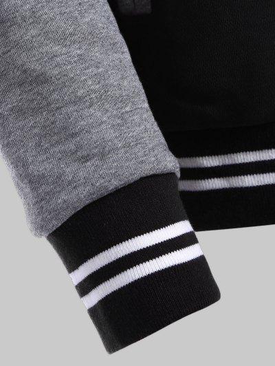 Hooded Varsity Baseball Fleece Sweatshirt Jacket - BLACK XL Mobile