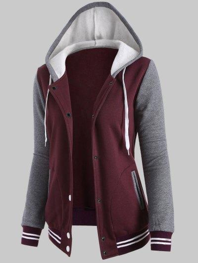 Hooded Varsity Baseball Fleece Sweatshirt Jacket - WINE RED 2XL Mobile