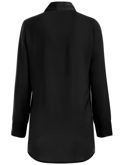 Long Sleeve Pussy Bow Blouse - BLACK XL Mobile