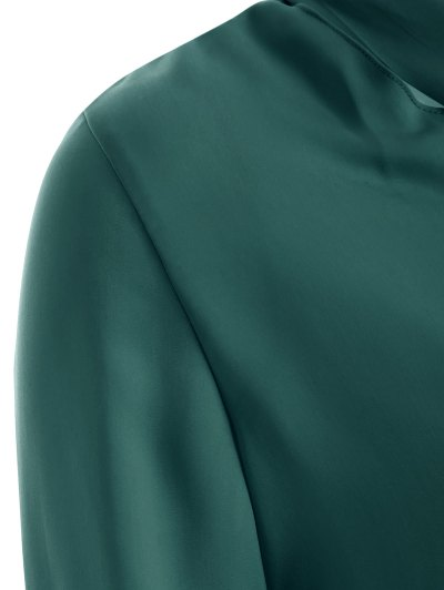 Long Sleeve Pussy Bow Blouse - GREEN S Mobile