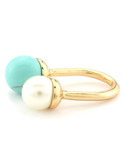 Faux Pearl Bead Ring - TURQUOISE  Mobile