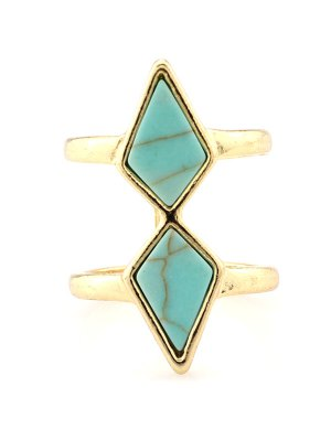 Rhombus Cage Ring - Turquoise