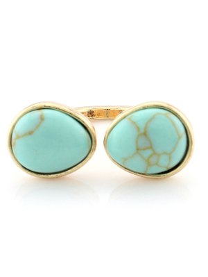 Faux Turquoise Cuff Ring - Turquoise