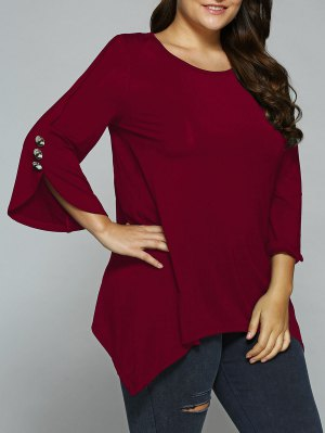 Button Decorated Sleeves Asymmetrical Blouse - Wine Red