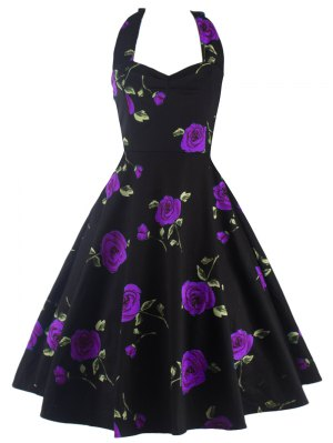 Halter Floral A Line Cocktail Dress - Purple