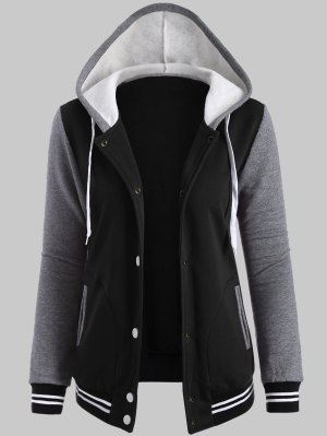 Hooded Varsity Baseball Fleece Sweatshirt Jacket - Black