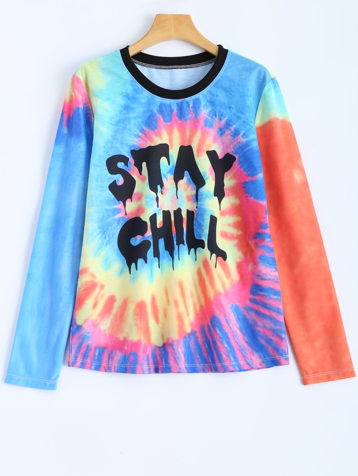 Jewel Neck Letter Tie-Dyed T-Shirt