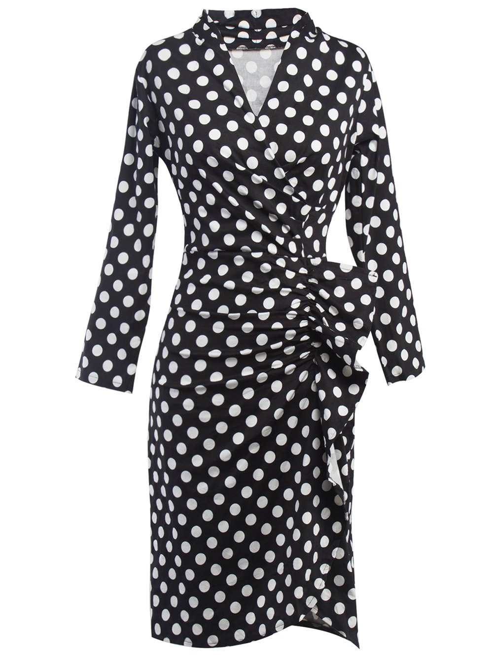 Polka Dot Ruched Surplice DressClothes<br><br><br>Size: 2XL<br>Color: BLACK