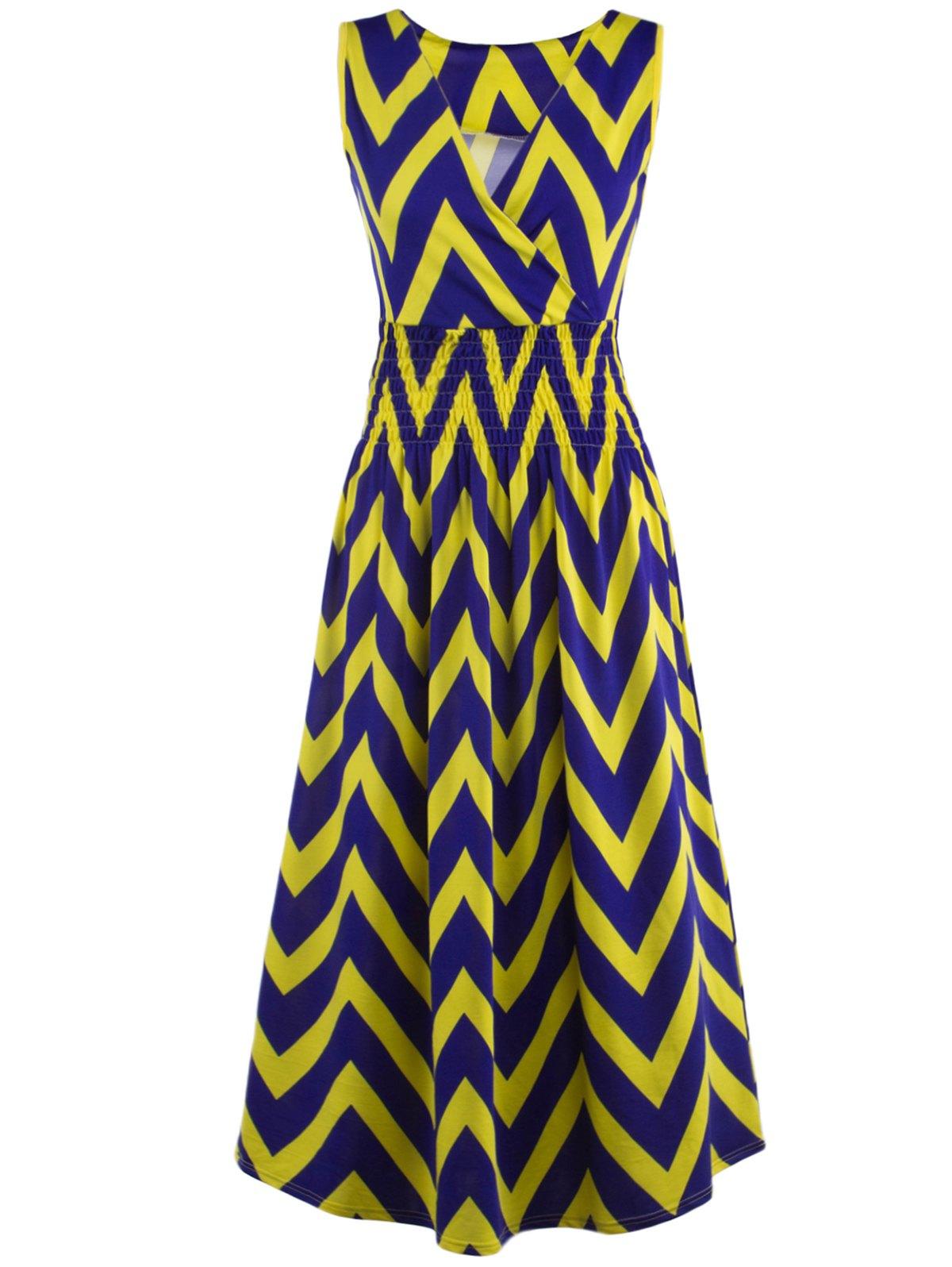 Bohemian Plunge Neck Sleeveless Zig Zag Dress