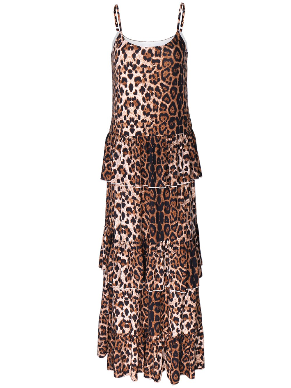 Leopard Print Layered Slip DressClothes<br><br><br>Size: L<br>Color: LEOPARD