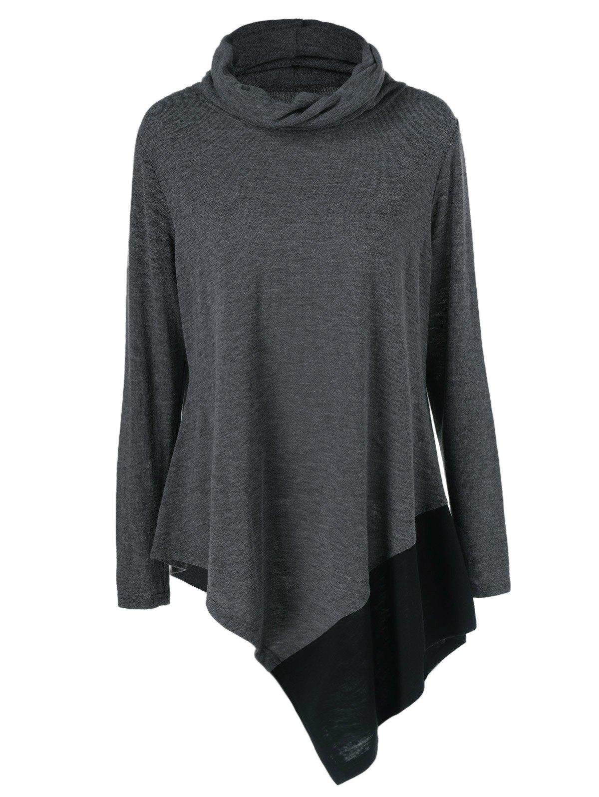 Plus Size Cowl Neck Asymmetrical Pullover