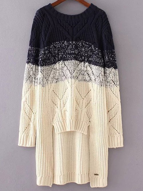 High-Low Ombre Loose Sweater