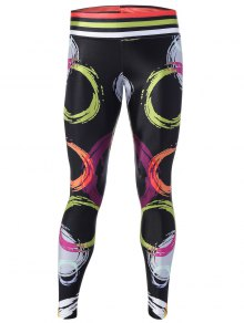 Interlocked Rings Printed Yoga Pants - Black M