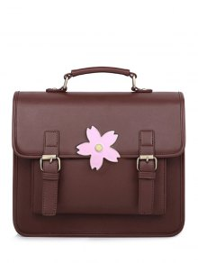 Buckle Strap Sakura Satchel Bag - Brown