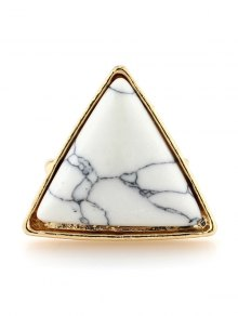 Triangle Faux Turquoise Ring - White