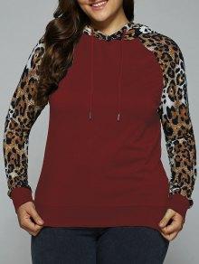 Plus Size Leopard Trim Raglan Sleeves Hoodie