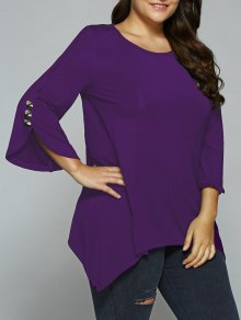 Button Decorated Sleeves Asymmetrical Blouse