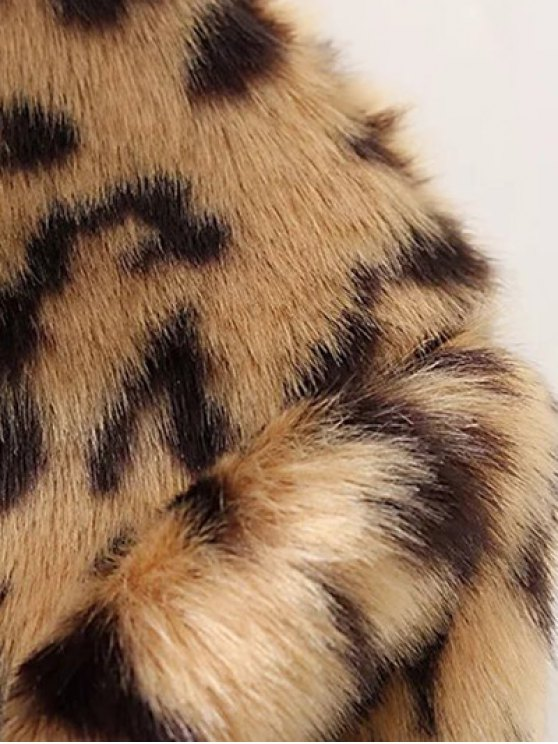 Leopard Faux Fur Coat - LEOPARD L Mobile