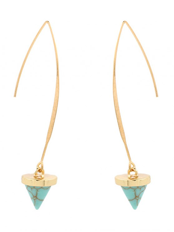 hot Artificial Turquoise Cone Embellished Earrings - GREEN