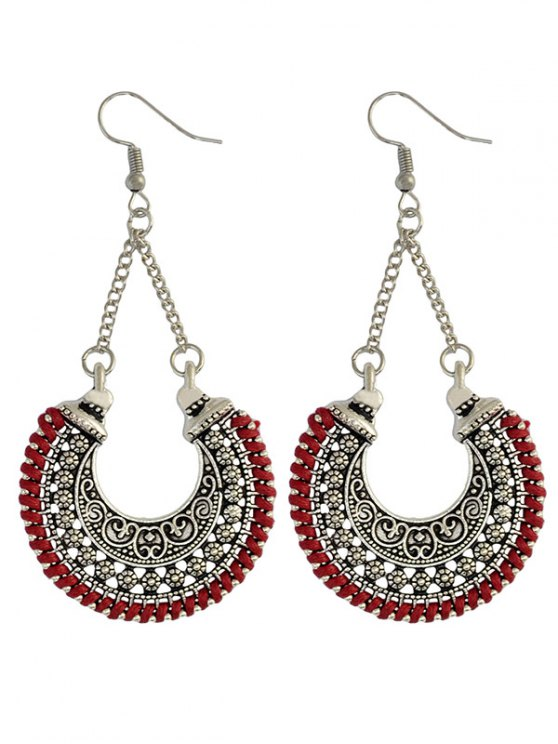 Crescent Carved Earrings - RED  Mobile