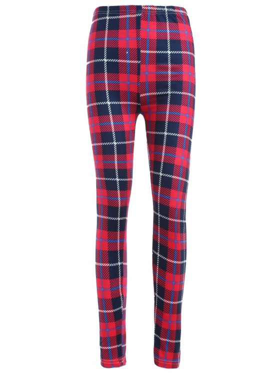 Tartan Check Ankle Leggings - RED WITH BLACK ONE SIZE Mobile