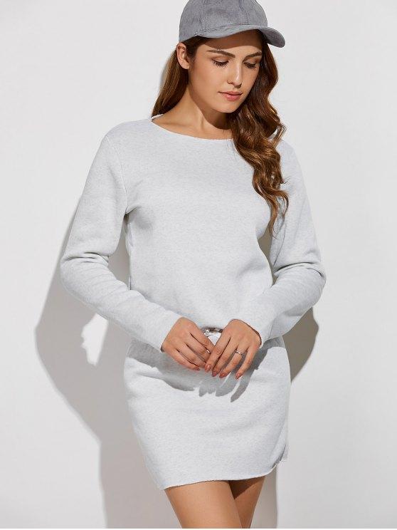 womens Long Sleeve Drawstring Mini Sweatshirt Dress - GRAY M