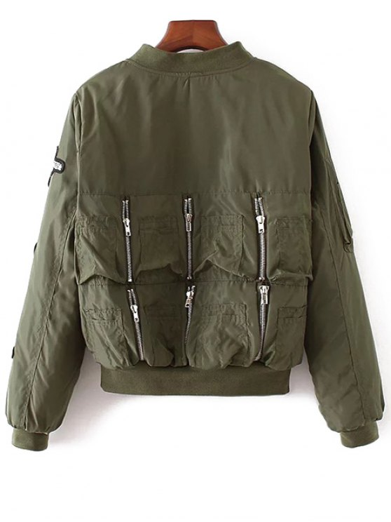 Rhinestoned Patched Jacket - ARMY GREEN M Mobile