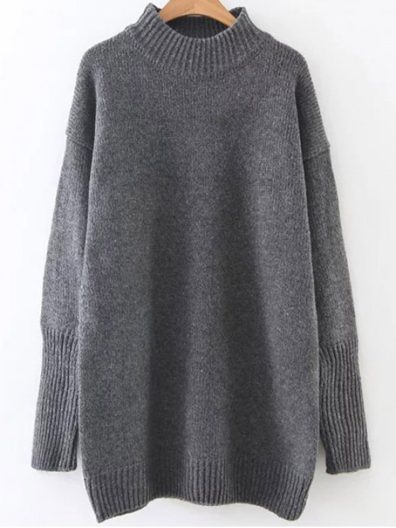 Long High Neck Sweater - DEEP GRAY ONE SIZE Mobile
