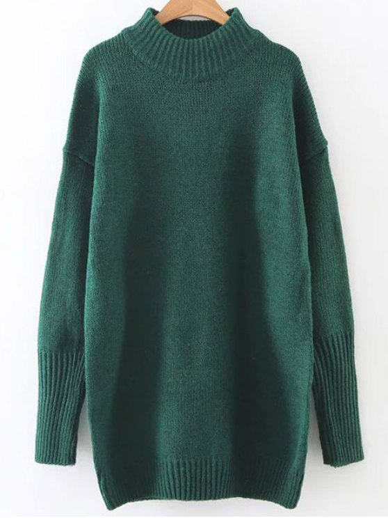 Long High Neck Sweater - GREEN ONE SIZE Mobile