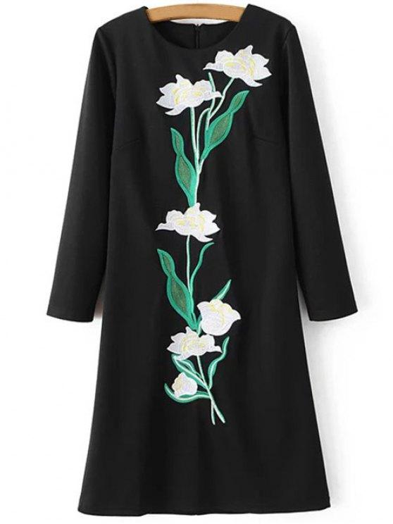 women Floral Embroidery Sheath Dress - BLACK S