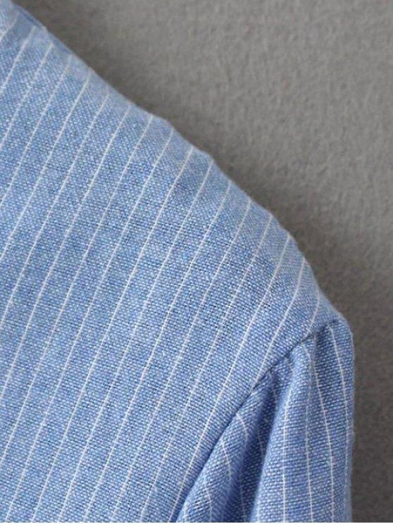 Slit Stripe High-Low Shirt - BLUE M Mobile