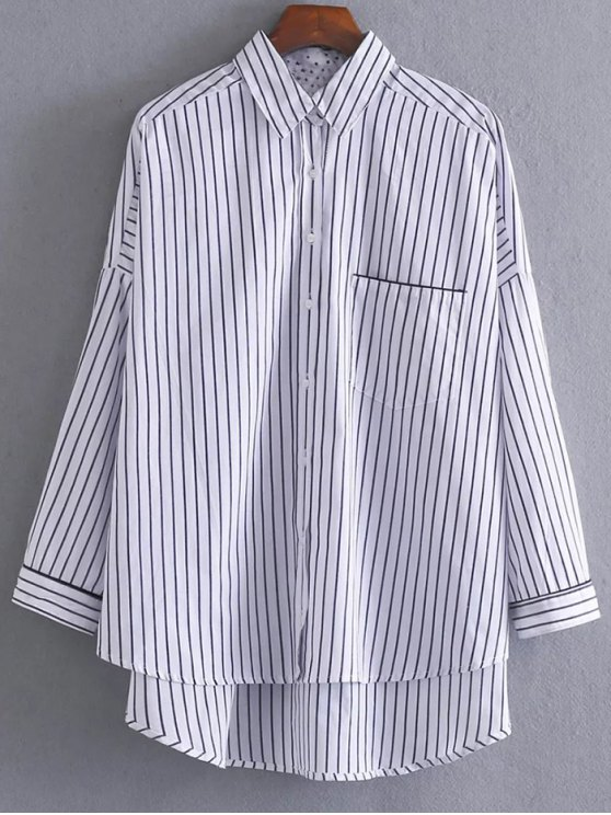 Loose High-Low Shirt - WHITE AND BLACK L Mobile