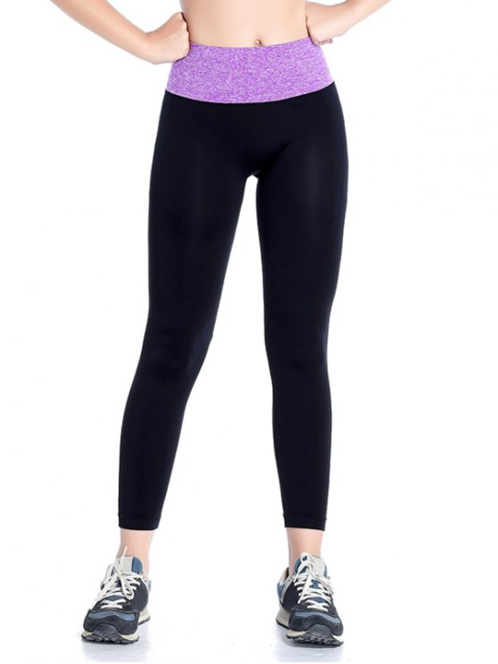 Stretchy Yoga Leggings - PURPLE L Mobile