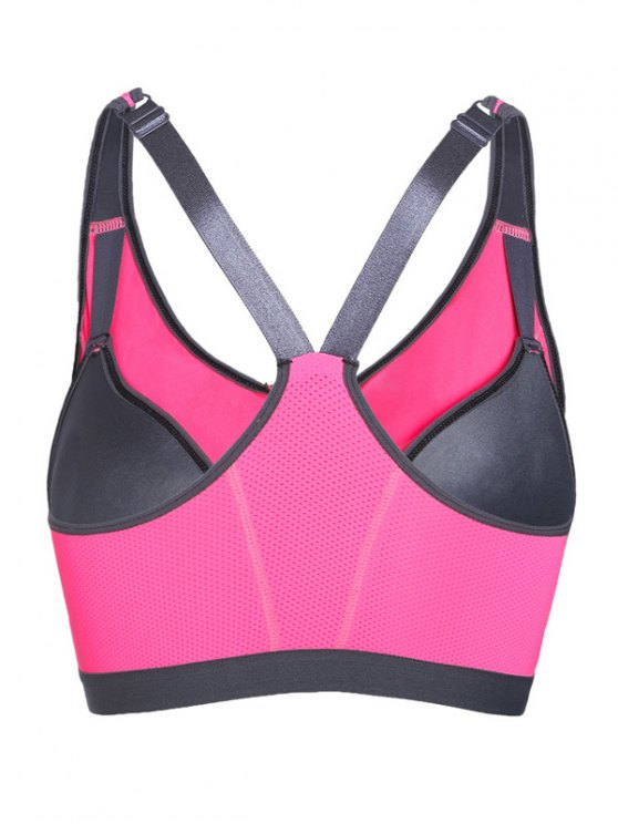 Push Up Front Zipper Sporty Bra - ROSE RED M Mobile