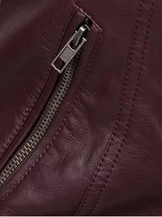 Color Block PU Leather Zippered Biker Jacket - WINE RED L Mobile