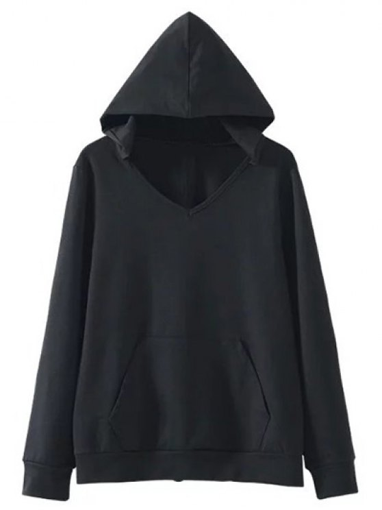 Back Lace Up V Neck Hoodie - BLACK M Mobile