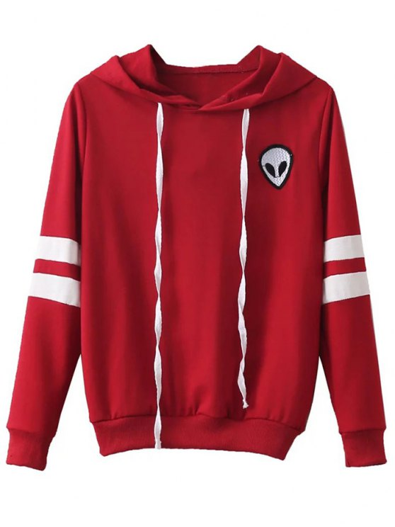 Striped Classic Hoodie - RED M Mobile