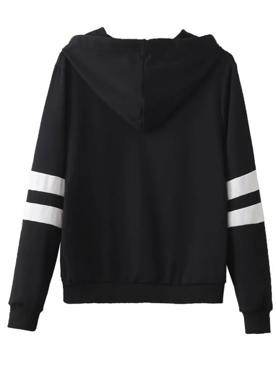Striped Classic Hoodie - BLACK M Mobile
