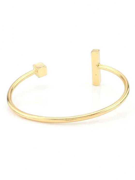 Vintage Alloy Adorn Geometric Cuff Bracelet - GOLDEN  Mobile