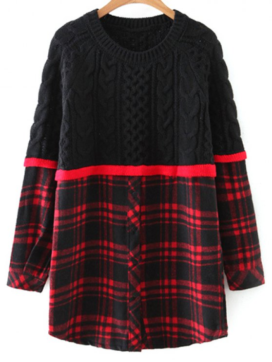unique Checked Cable Knit Sweater - RED WITH BLACK ONE SIZE