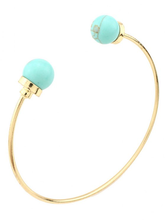 outfit Faux Turquoise Beads Bohemian Cuff Bracelet - GREEN