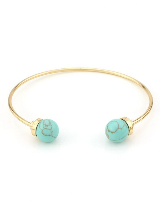Faux Turquoise Beads Bohemian Cuff Bracelet - GREEN  Mobile