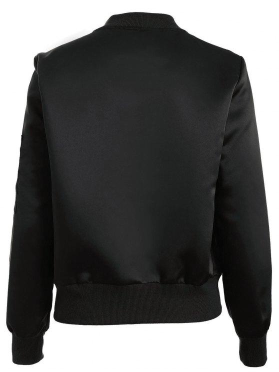 Zip-Up Bomber Jacket - BLACK S Mobile